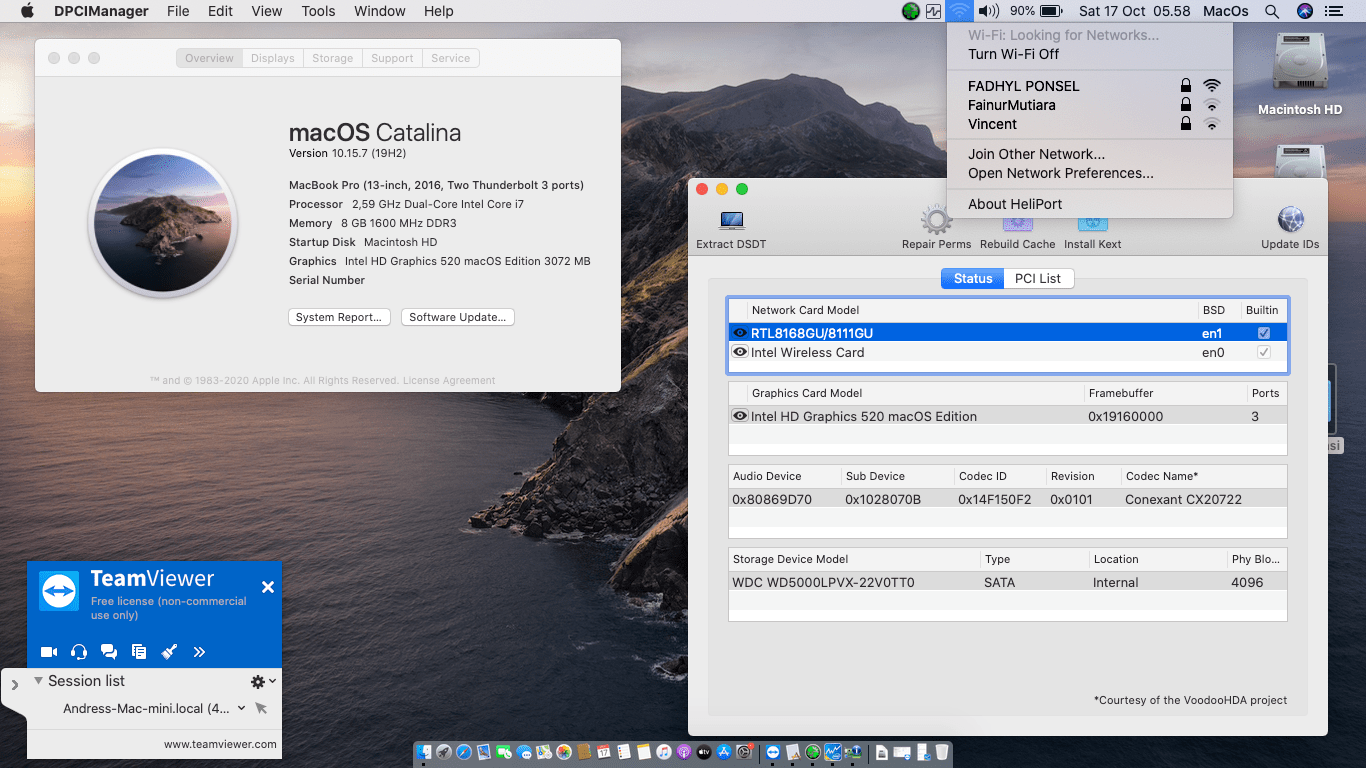 Success Hackintosh macOS Catalina 10.15.7 Build 19H2 at Dell Vostro 14-5459